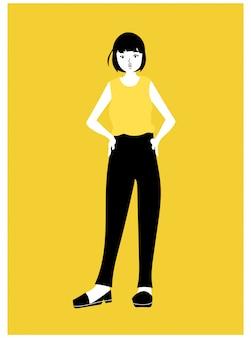 Girl character in yellow shirt. figure fashion model.