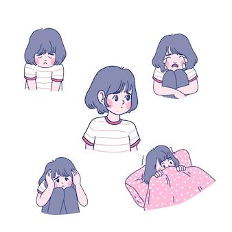 女の子のキャラクターの漫画イラスト。