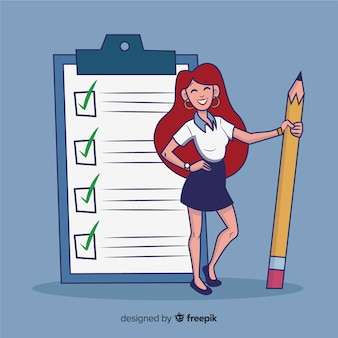 Girl checking giant checklist background