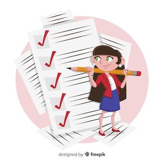 Girl checking giant checklist background