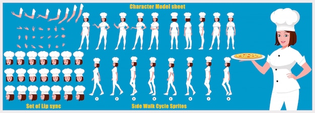 Girl chef character model sheet with walk cycle animations and lip syncing