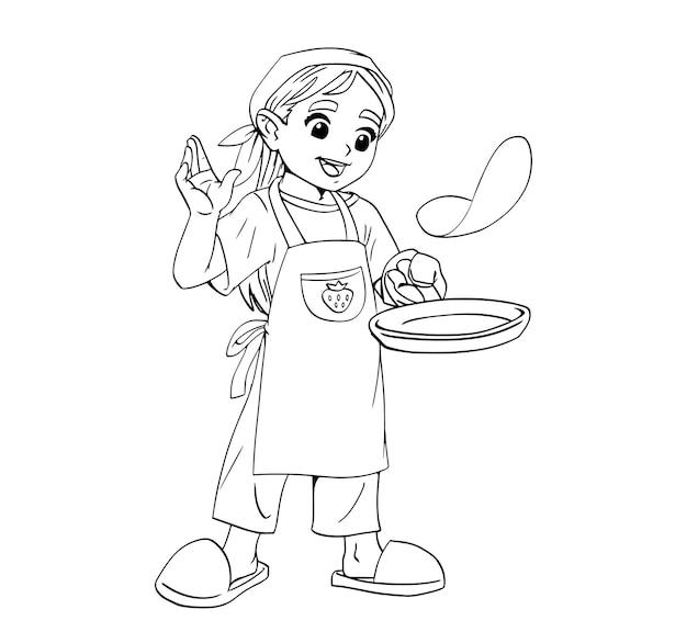 女の子のシェフがフライパンでパンケーキ料理を作ります。シェフの帽子をかぶった子供。黒い線でリアルな塗り絵。漫画の幼稚なスタイルのベクトル。白い背景の上の孤立したアート。かわいいプリント。