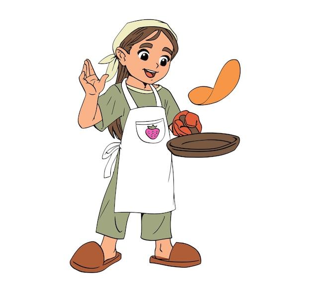 여자 요리사는 프라이팬에 팬케이크 음식을 준비합니다. 요리사 모자를 쓴 아이. 검은색 선과 유행하는 색상이 있는 사실적인 그림. 만화 유치 한 스타일의 벡터입니다. 격리 된 예술 흰색 배경입니다.