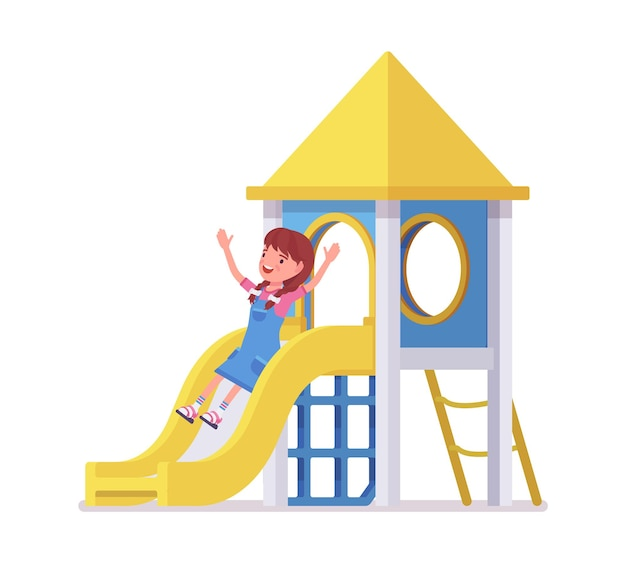 Girl child 7 to 9 years old, active school age kid sliding down