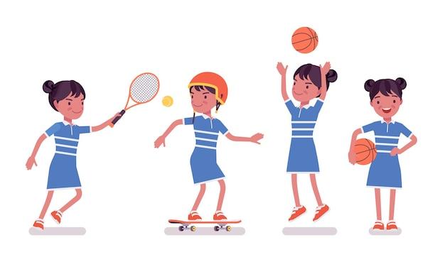 여자 아이 7, 9세, 여자 흑인 학교 아이 스포츠 활동