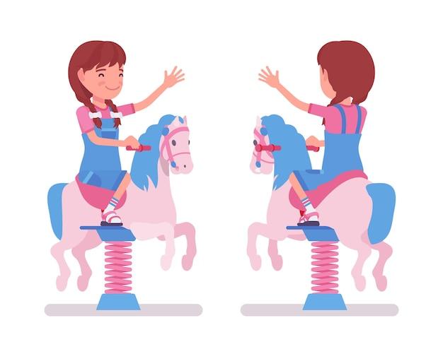 Girl child 7-9 yo school age kid, horse spring rider