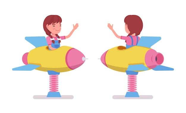 Girl child 7, 9 yo school age kid, rocket spring rider