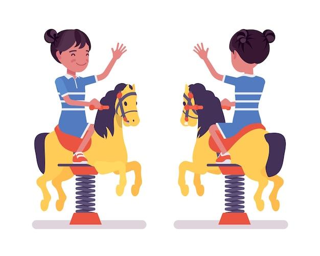 Girl child 7, 9 yo school black kid, horse spring rider