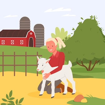 Girl child character hugging cute baby goat in farmland landscape with farmer barn and garden