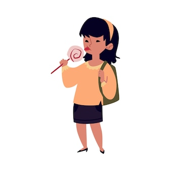 Girl child eating a lollipop - happy kid with backpack licking candy on a stick  on white background, cute cartoon character with sweet dessert,  illustration