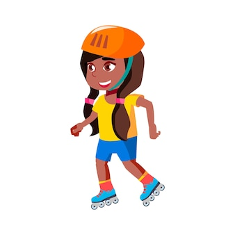 Girl child riding roller skates in park vector. african happy lady kid wearing protective helmet ride roller skates outdoor, character infant athlete sport activity flat cartoon illustration