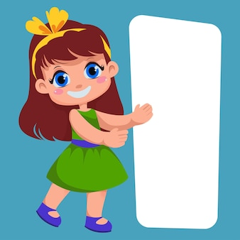Girl child shows on the white rectangle place for text template for lettering vector illustration
