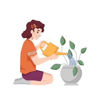 水で植木鉢に水をまく女児は平らな漫画のキャラクターを分離することができます