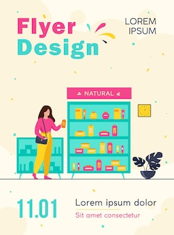 Girl choosing eco beauty products in cosmetics shop, standing at case with creams and lotions and taking shampoo bottle flyer template