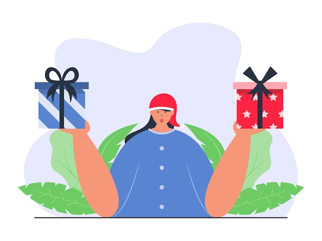 Девушка выбирает или держит рождественские подарочные коробки иллюстрации концепции
