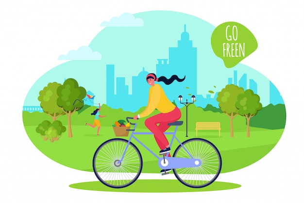 Girl at city park ride bike, vector illustration. active spring walk in fresh air, healthy weekend time. happy outdoor leisure