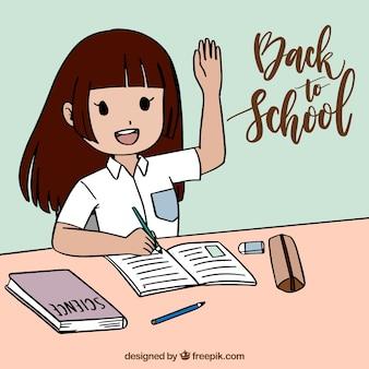 Girl in class raising the hand