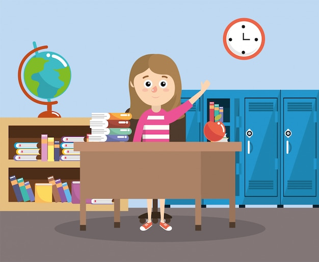 Girl in the classroom with desk and apple fruit