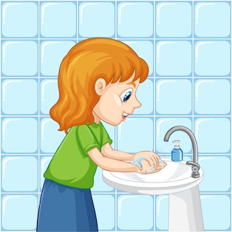 A girl cleaning hands Free Vector