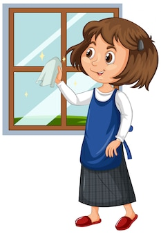 Girl cleaning window on isolated