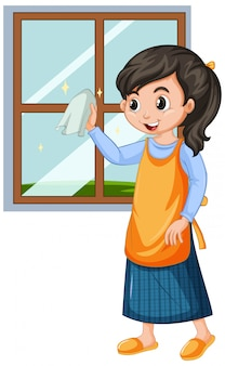 Girl cleaning window on white