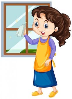 Girl cleaning window