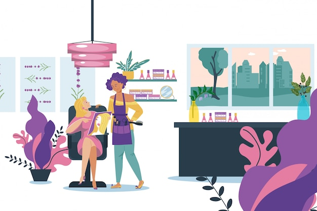 Girl client care about hair in salon,  illustration. professional hairdressing, cartoon girl with hairdresser character