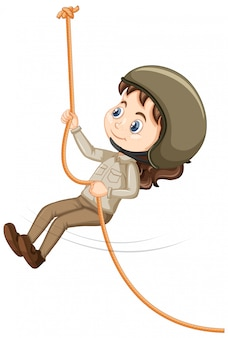 Girl climbing rope on isolated