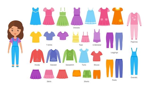 女の子の服。ベビー服。カジュアルな布をセットした漫画の女性キャラクターの紙人形
