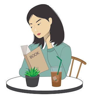Girl at the coffee shop illustration alone me time productive