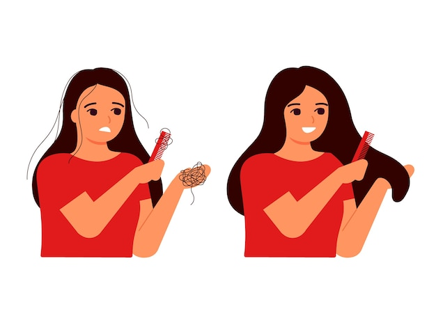 Girl combs her hair, hair on comb, fall. hair loss, baldness, fragility, alopecia concept. hair before and after. woman s thin hair is associated with problem, stress, hormones, nutrition.