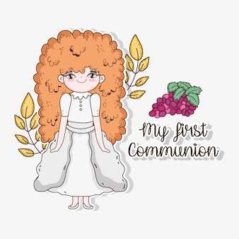 Girl communion with branches leaves and grapes