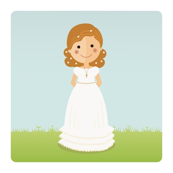 Girl communion with curly hair on blue sky background