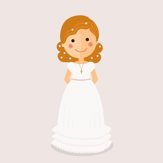 Girl communion with curly hair on ochre background