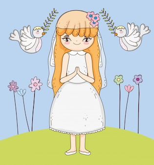 Girl communion with dress and flowers plants
