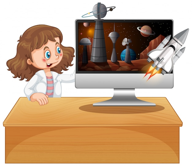 Girl next to computer with space background