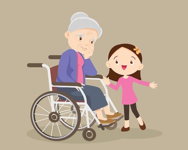 슬픈 노인 여성을 위로하는 소녀 지루함
