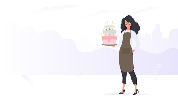 Girl cook holds a birthday cake. girl holds a pie. good for birthday articles and banners. vector.