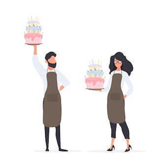 Girl cook holds a birthday cake. the guy is holding a pie. good for birthday articles and banners. vector.