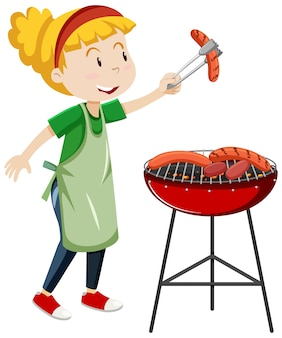 Ragazza che cucina stile cartone animato salsiccia alla griglia isolato su priorità bassa bianca