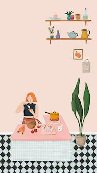 Ragazza che cucina in un vettore di carta da parati per cellulare in stile schizzo di cucina