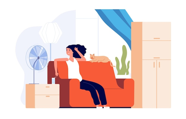 소녀 냉각 공기 팬입니다. 더운 날씨, 고양이와 전기 냉각 바람을 가진 여자. 난방실에서 바람을 쐬고, 계절 조절 벡터 삽화를 하세요. 고양이와 팬 근처에 앉아 있는 소녀, 시원한 신선한 컨디셔닝