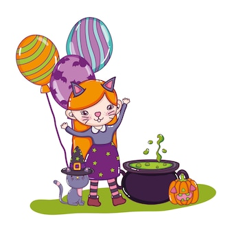 Girl costumed with balloons and pot cauldron
