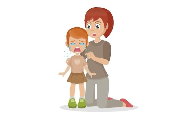 우는 소녀와 그녀의 엄마가 그녀를 위로하다