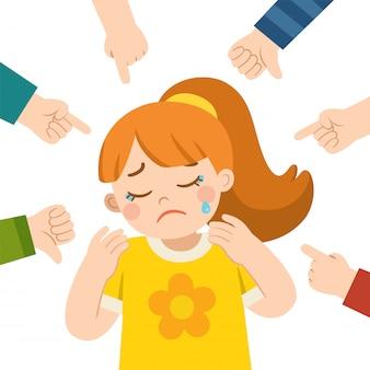 泣いている女の子と彼女を指して笑っている他の子供たち。学校でのいじめ。恥ずかしがり、人差し指で手の中の少女。犠牲者の少女。