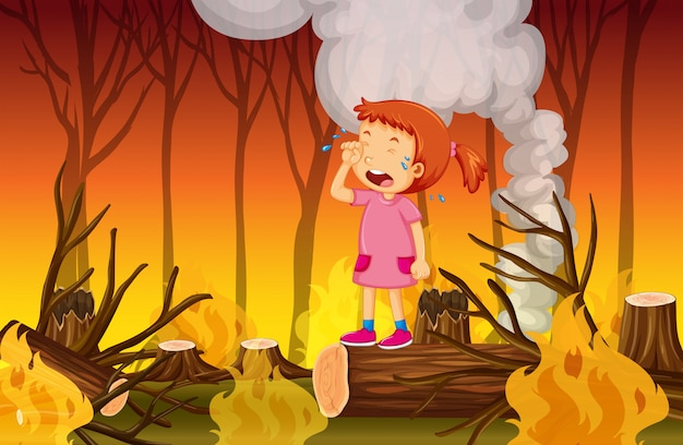 A girl crying in the wildfire forest