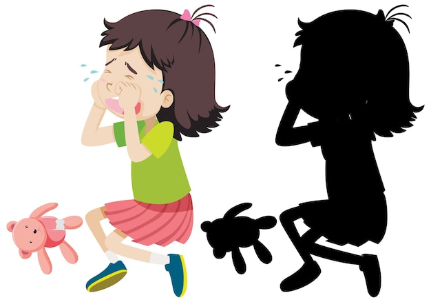 Girl crying with its silhouette