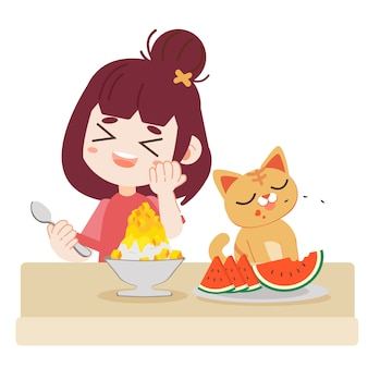 A girl and cute cat eating refreshing food