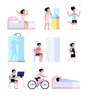 女の子の日課。かわいい子の朝、子の毎日の活動スケジュール。漫画の赤ちゃんが遊んで、運動衛生ベクトルセットを実行します。毎日の女の子のルーチン、漫画のキャラクターの食事と教育のイラスト