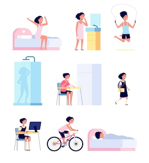 Girl daily routine. cute child morning, kid every day activity schedule. cartoon baby playing, doing exercises hygiene vector set. girl routine daily, cartoon character eat and education illustration